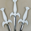 Wing dagger painted white and ready for the client to hand paint for use in the Ogdoadic Tradition