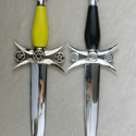 Set of Solomon knives one plain and one with solid pentacles.  No shoulders on the blade and extra disc in center