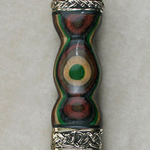 Shown with longer blade and green onyx gemstone on pommel top.